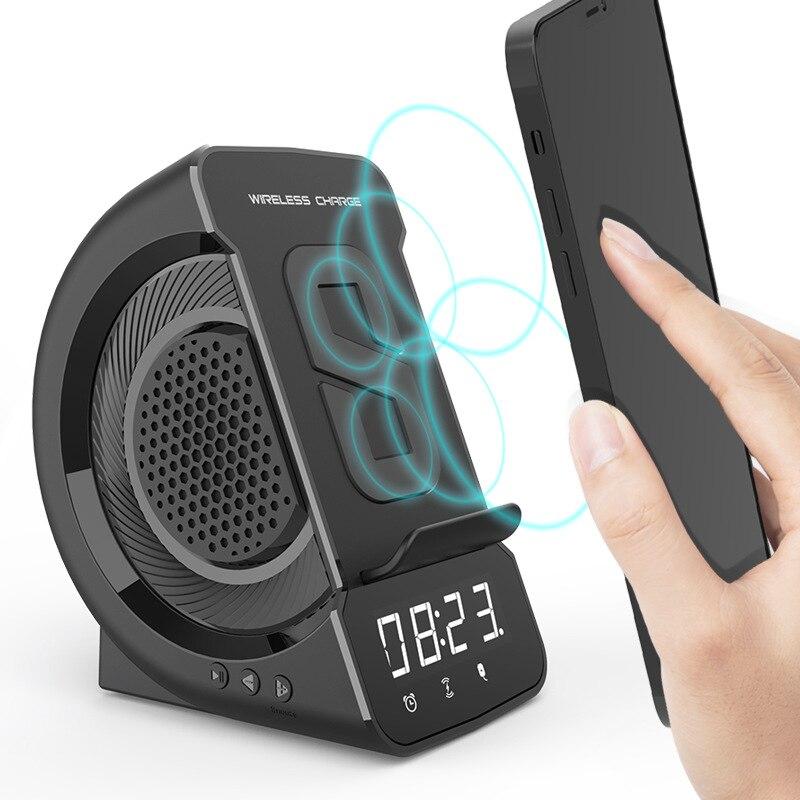 لاسلكي شحن سمّاعات بلوتوث مع شاشة رقمية شاشة إنذار ساعة الهاتف المحمول شحن متعدد الوظائف مشغل موسيقى