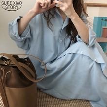2020 nowa jesienna długa sukienka koszulowa Vestidos Vintage niebieska sukienka bawełniana szlafrok z długim rękawem Femme przycisk luźne sukienki dla kobiet 9649