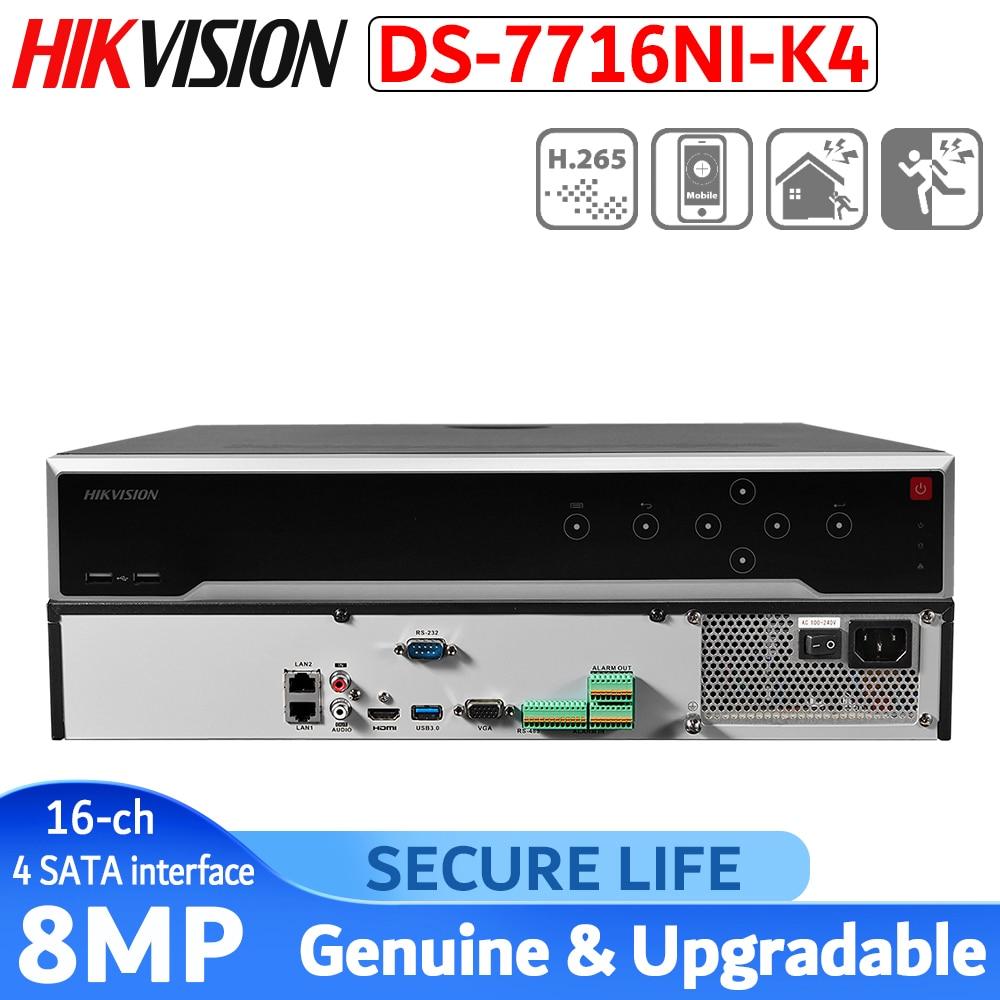 HIKVISION-version internationale anglaise   16CH NVR 4K 4 SATA, H.265 NVR, prise en charge de caméras IP 8 mp