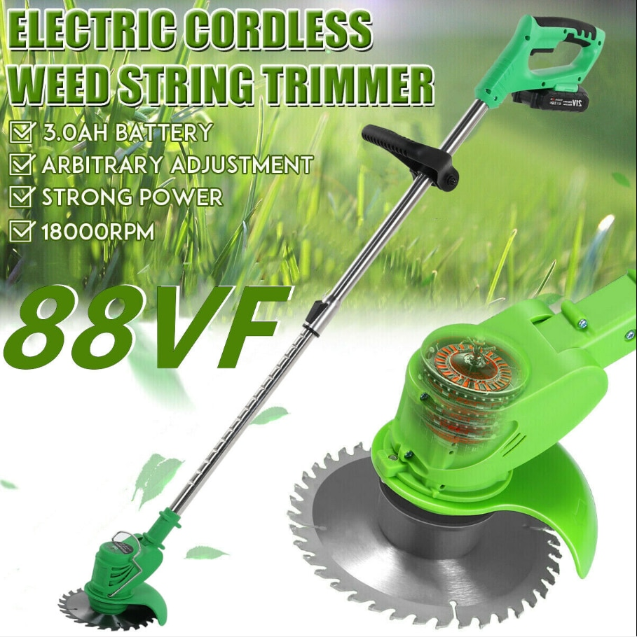 88VF Portable Electric Lawn Mower Handheld Lawn Mower Cordless Weeder Farm Household Garden Pruning Power Tool with battery AU