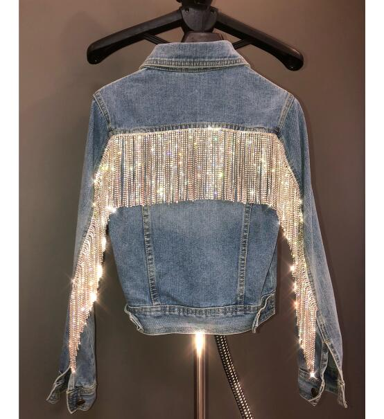 Luxury Women Fashion Cool Short Blue Denim Jackets Silver Bling Rhinestone Crystals Beading Tassels Punk Party Denim Jeans Coat