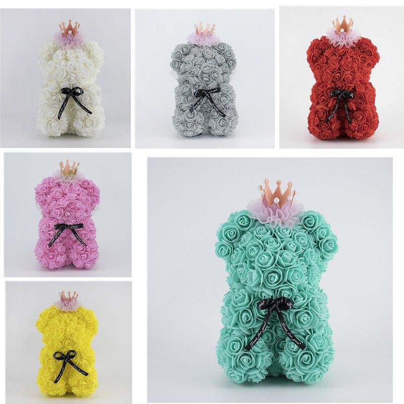 Regalo de San Valentín de 25cm, oso de peluche de pe Corona rosa para novia, caja de regalo de Navidad con Rosa de simulación bonita, oso, decoraciones de boda