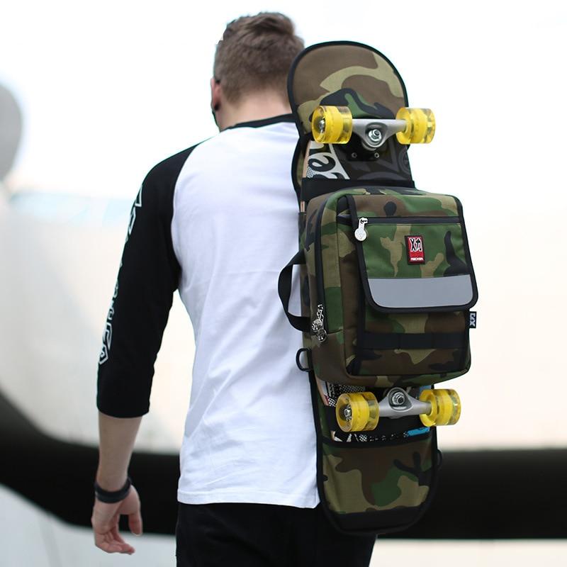 Камуфляжная сумка Оксфорд для скейтборда, двойной качающийся скейтборд, большой рюкзак для скейтборда с рыбками, мужская женская сумка для ...