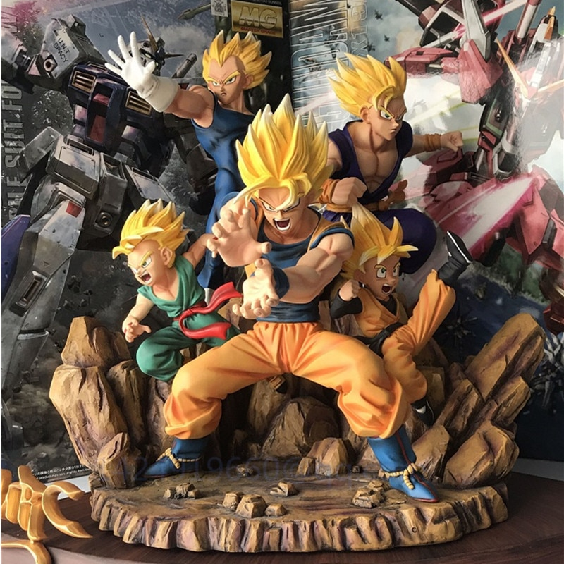 Anime Dragon Ball Son Goku Vegeta Father And Son Super Saiyan Son Gohan Trunks Son Goten Resin Action Model Toy Large Statue R70