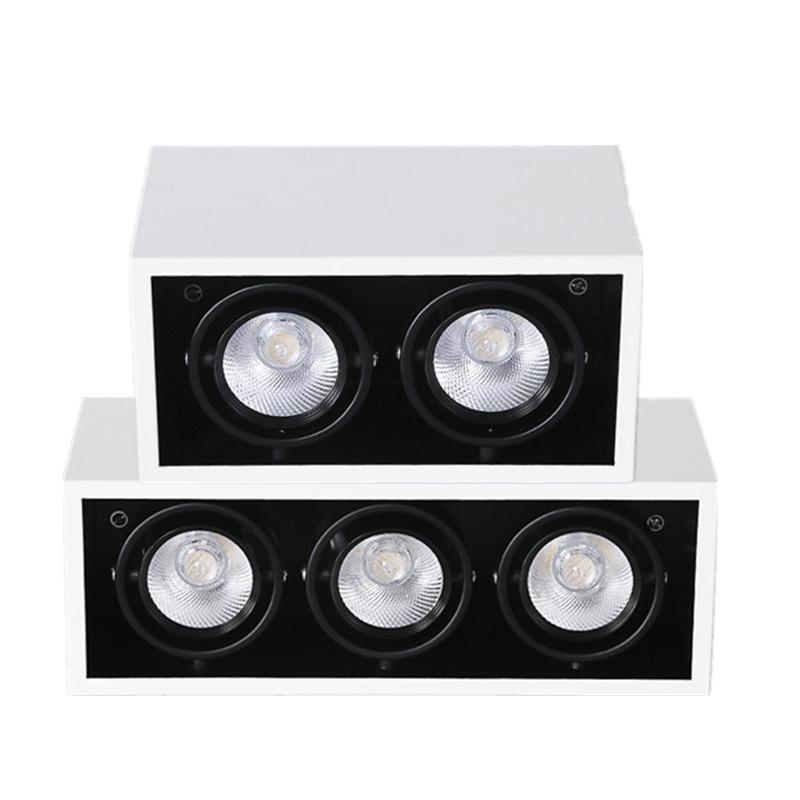 Projekt Gehäuse Dekoration Weiß Shell Doppel Drei Köpfe Unten Lampe 20W 30W Anti-blenden Dimmbare COB LED spot Grille Lichter