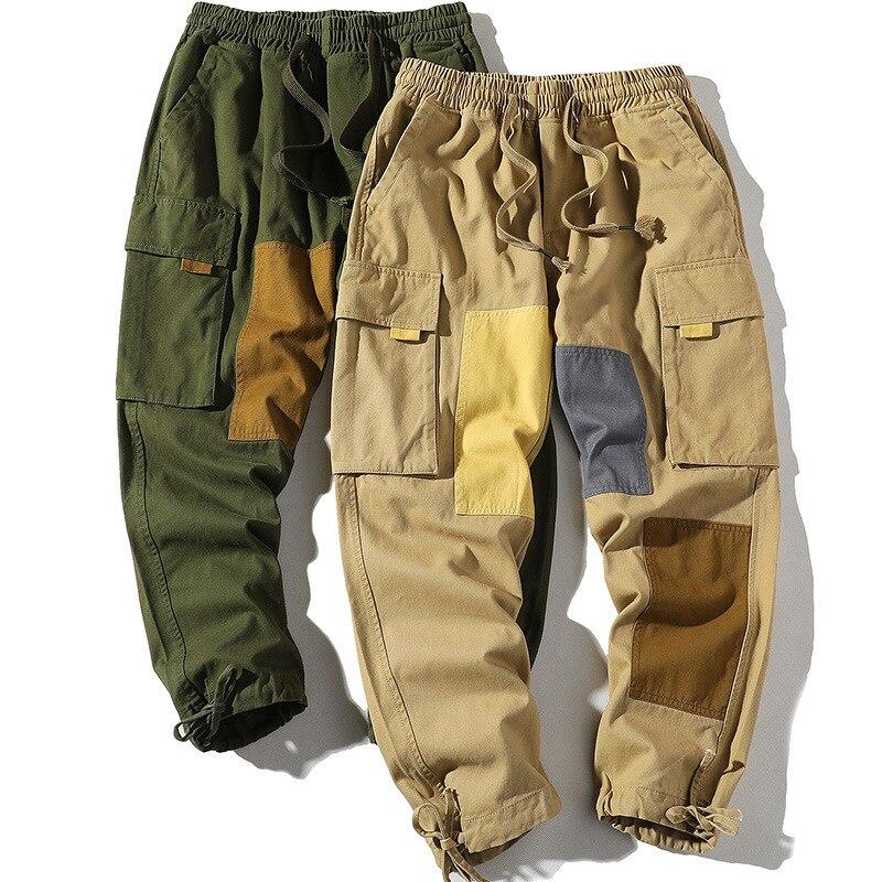Брюки-карго мужские контрастные, повседневные штаны, молодежные брюки-Слаксы в ретро стиле, подходят к цвету, весна-лето