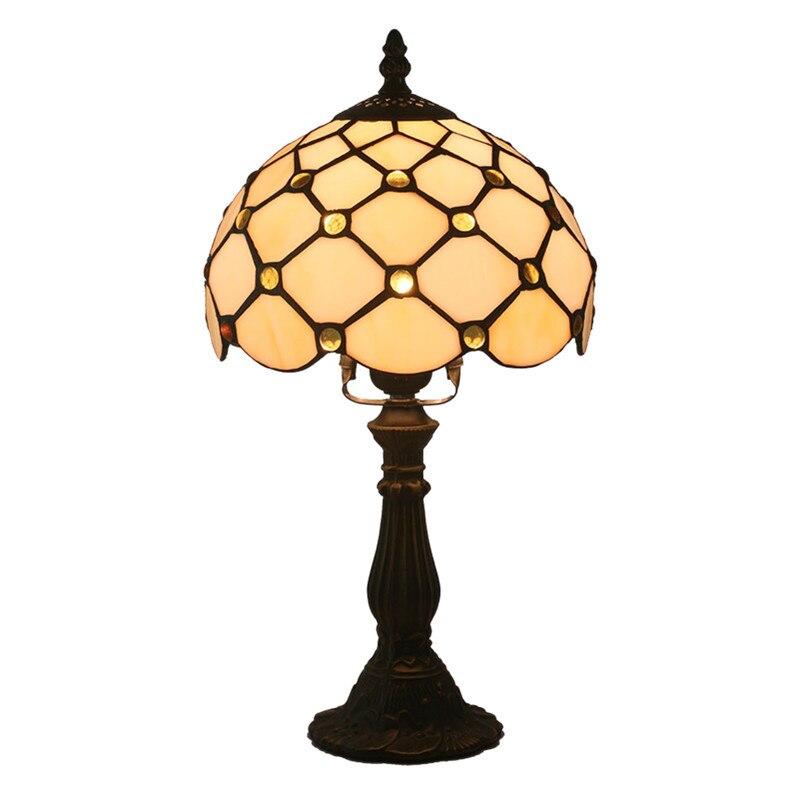 تيفاني مصباح أباجورة غرفة نوم الرجعية بار الأصفر زجاج مصباح قاعدة من الراتنج مصابيح طاولة تشكل الجدول طاولة جانبية مصباح