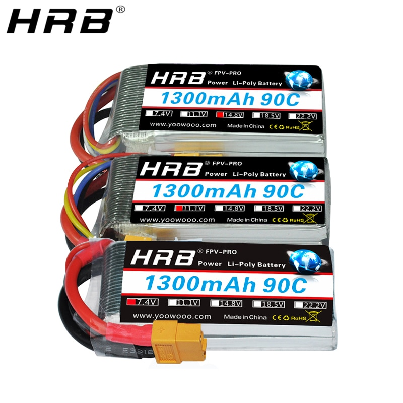 HRB batería Lipo de 1300mah 3,7 V 7,4 V 11,1 V 14,8 V 18,5 V 22,2 V XT60 Deans T 2S 3S 4S 5S 6S piezas de control remoto para MJX FPV aviones Dron 90C