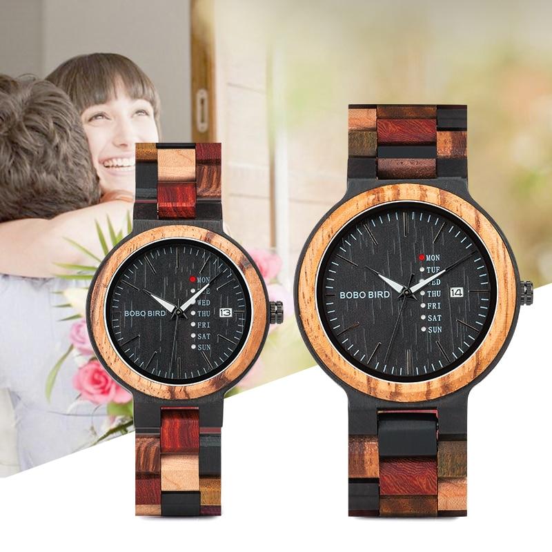 BOBO BIRD P14 Wood Watch Lover Couple Watches Men Women Quartz Week Date Timepiece Colorful Wooden B
