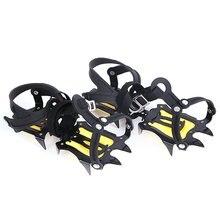 Neige de glace réglable anti-dérapant 10 pointes dentées Crampons couvre-chaussures descalade en plein air Crampons antidérapants chaussures