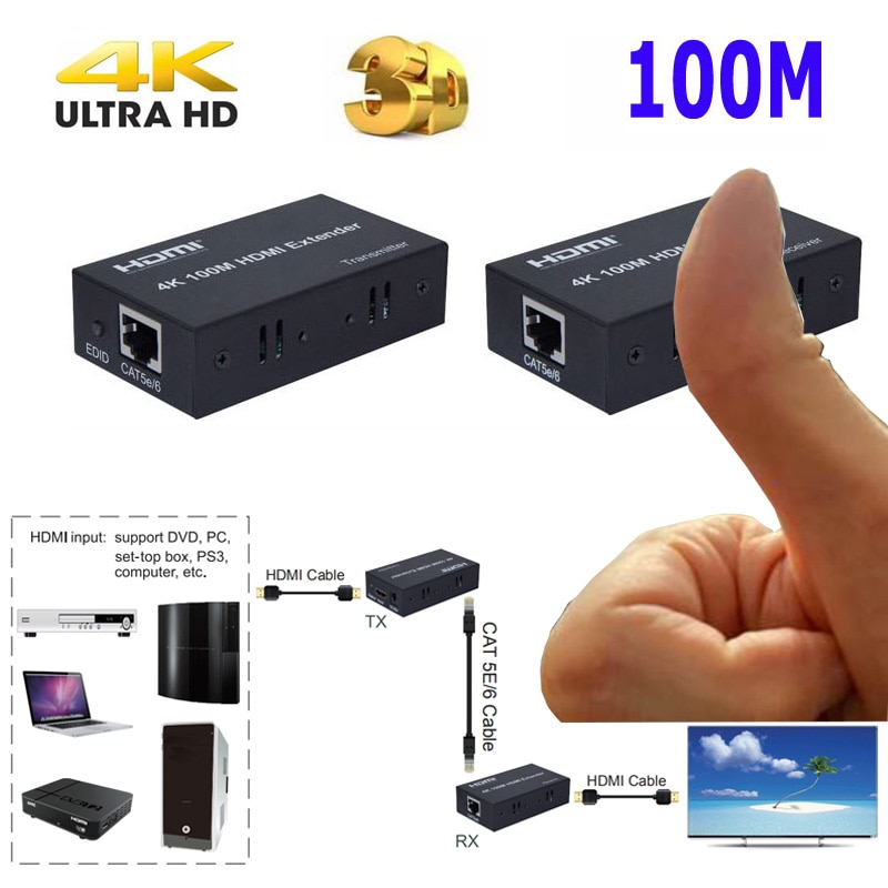 HD 4K 100M HDMI Extender RJ45 Ports to 100M HDMI 1.4 Extender Extension Over CAT 5e / 6 Cat5e/6 UTP LAN Ethernet Cable Converter usb kvm extender lossless and no latency hdmi transmitter and receiver over single cat5e 6 utp ethernet cable hdmi kvm extender