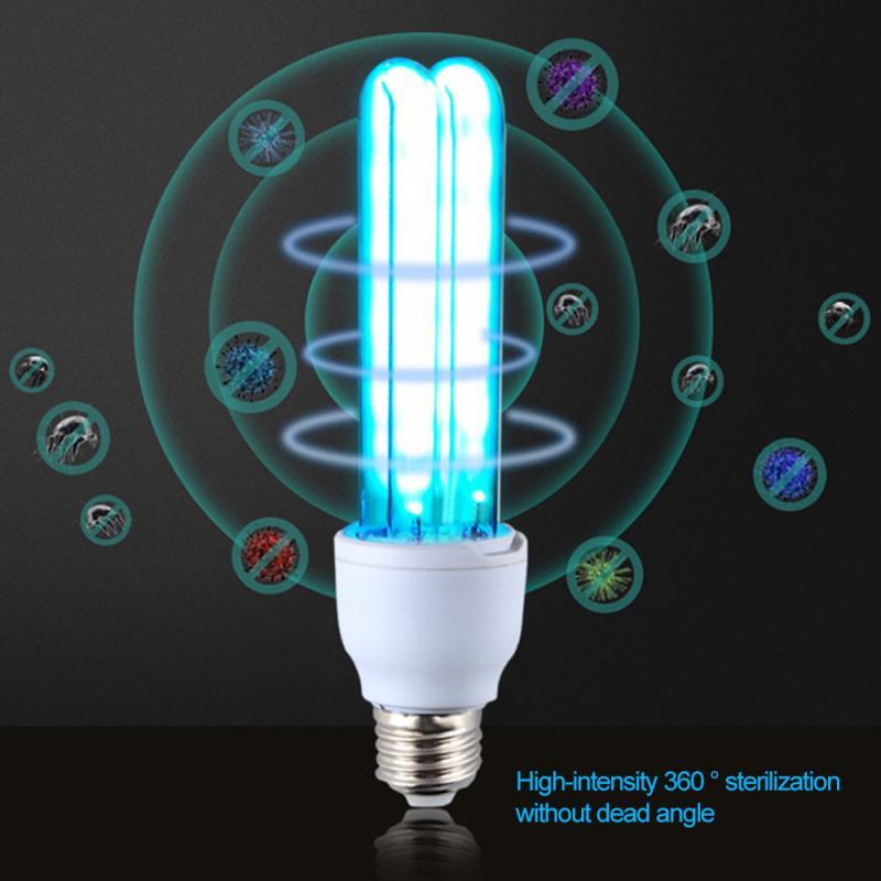 Ultraviolet LED Micro Ozone Disinfection Lamp Tube Bulb Ultraviolet Lamps+Lamp Holder US EU Plug 26W E27 UVC Quartz UV Light