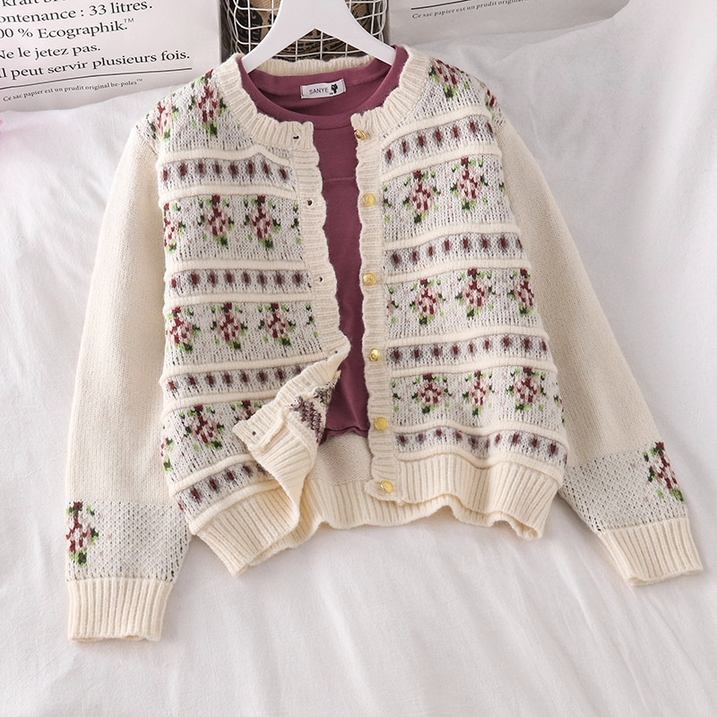 Women's Sweater Fall and Winter Outer Wear All-Match Jacquard Knitted Cardigan Coat Bottoming Top Yo