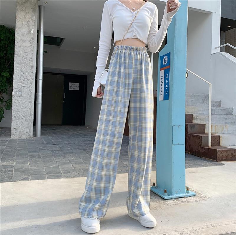Autumn Large Size Lattice Loose Pants Women's mm Drape