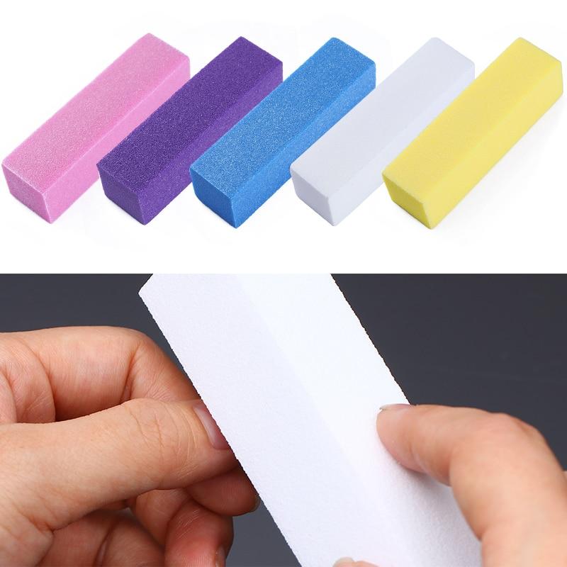 Esponja profissional prego buffers arquivos verde branco rosa moagem ferramenta de polimento lixar ferramentas bloco