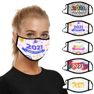 1 шт. маска для лица для взрослых, моющаяся маска для женщин, мужчин, дышащая маска для взрослых с рождественским принтом 2021, маски для рта с у...