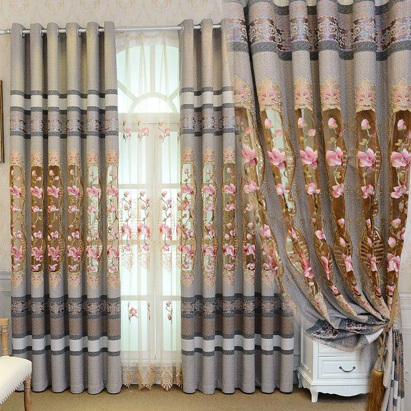 Cortinas para sala de estar y dormitorio, bordadas, simples y modernas, de...