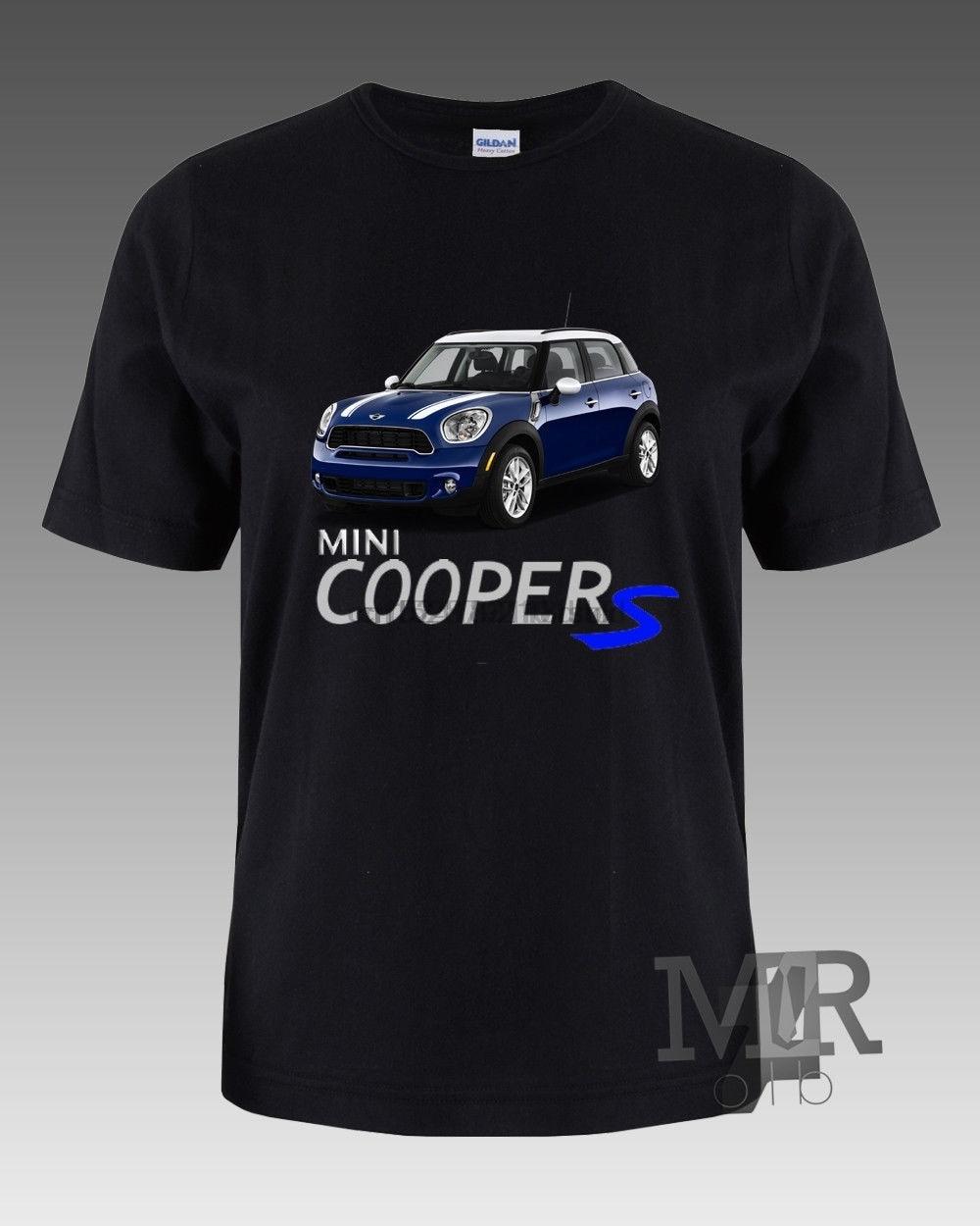 Nuevo Mini Cooper coche azul logotipo camiseta negra M L XL 2XL marca de algodón
