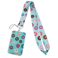pf375 dongmanli donuts neck straps lanyard car key chain id card pass gym mobile phone key ring badge holder jewelry