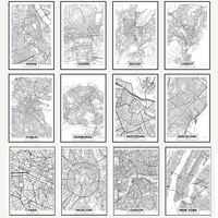 black line city map poster paris london new york nordic canvas painting prints and posters wall art pictures for home decor