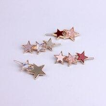 Fashion Star Hair Pins Gold Metal Hair Clips Barrettes Resin Head Jewelry Accessories Head Piece Brand Hair Pin For Women Girls