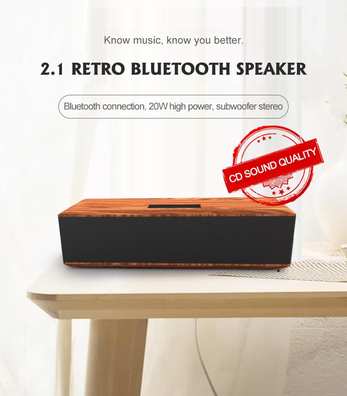Altavoz Bluetooth de madera música inalámbrica retro calidad de sonido perfecto mini home theater sonido estéreo con Supergraves 20W audio inalámbrico