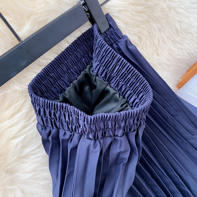 2020 Fashion Autumn Pleated Skirt Good Quality High Waist Women A-Line Irregular Hem Midi Skirts Saia Faldas Jupe Femme