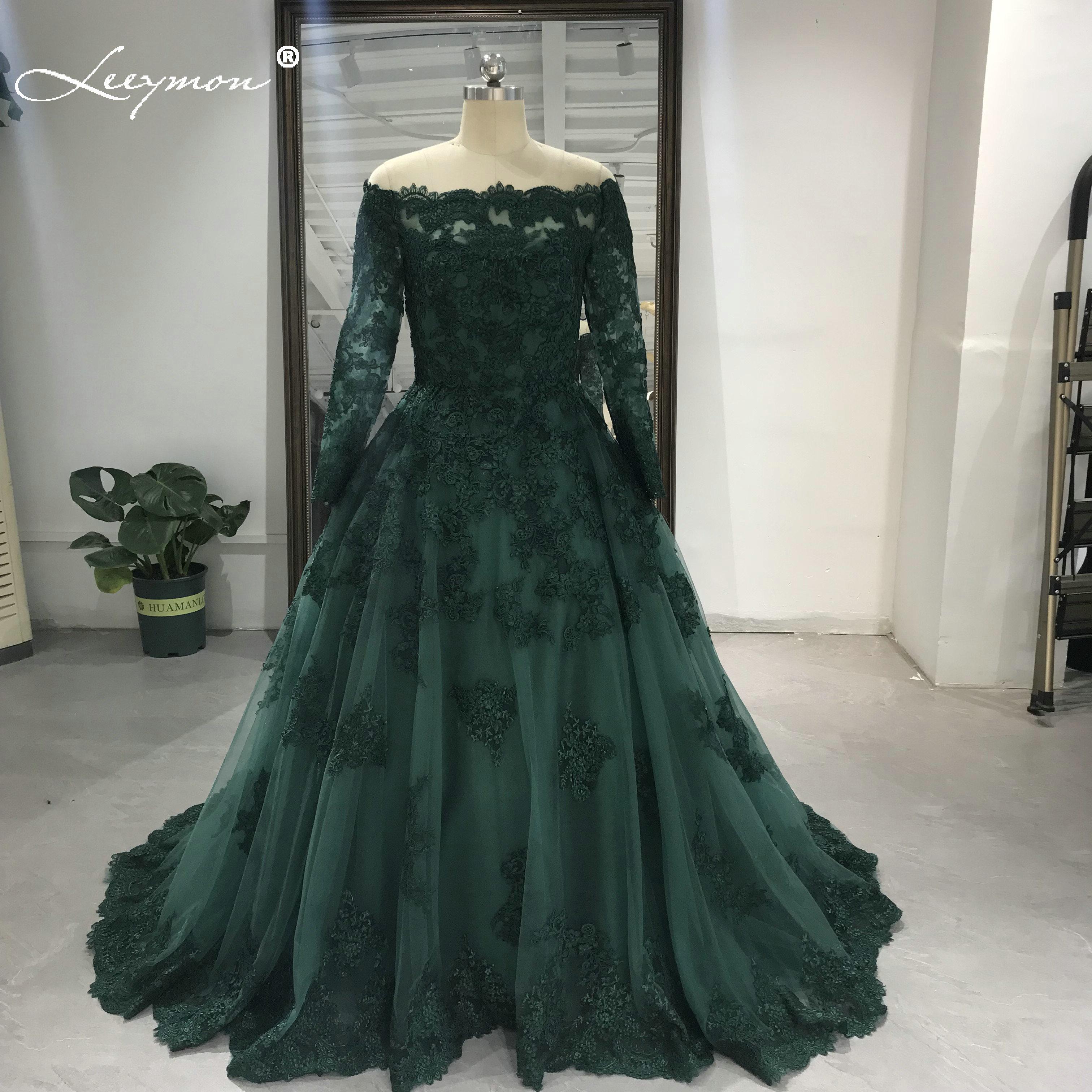 Leeymon-فستان زفاف دانتيل أخضر ، ياقة قارب ، أكمام طويلة ، ثوب زفاف