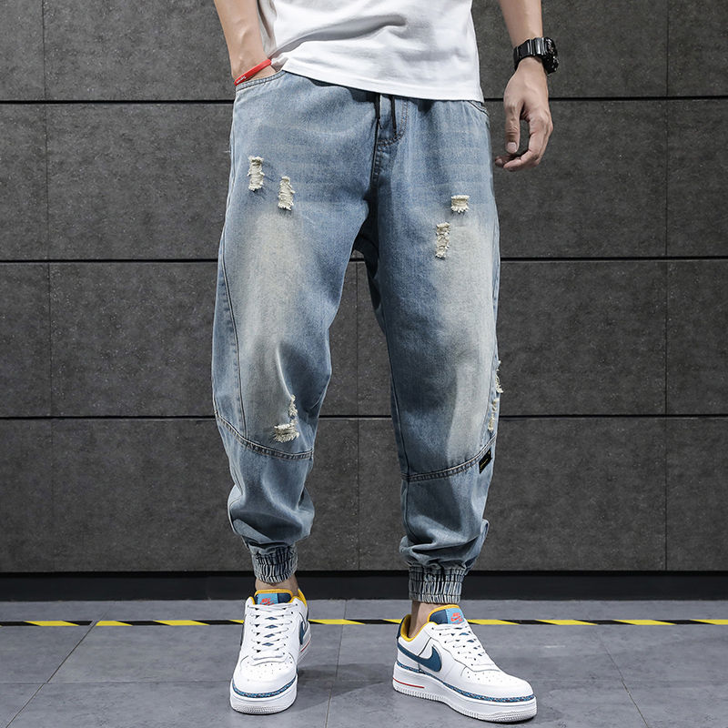 2020 New Hip Hop Harem Jeans Pants Men Loose Joggers Denim Casual Sweatpants Korea Ankle Length Trousers Streetwear