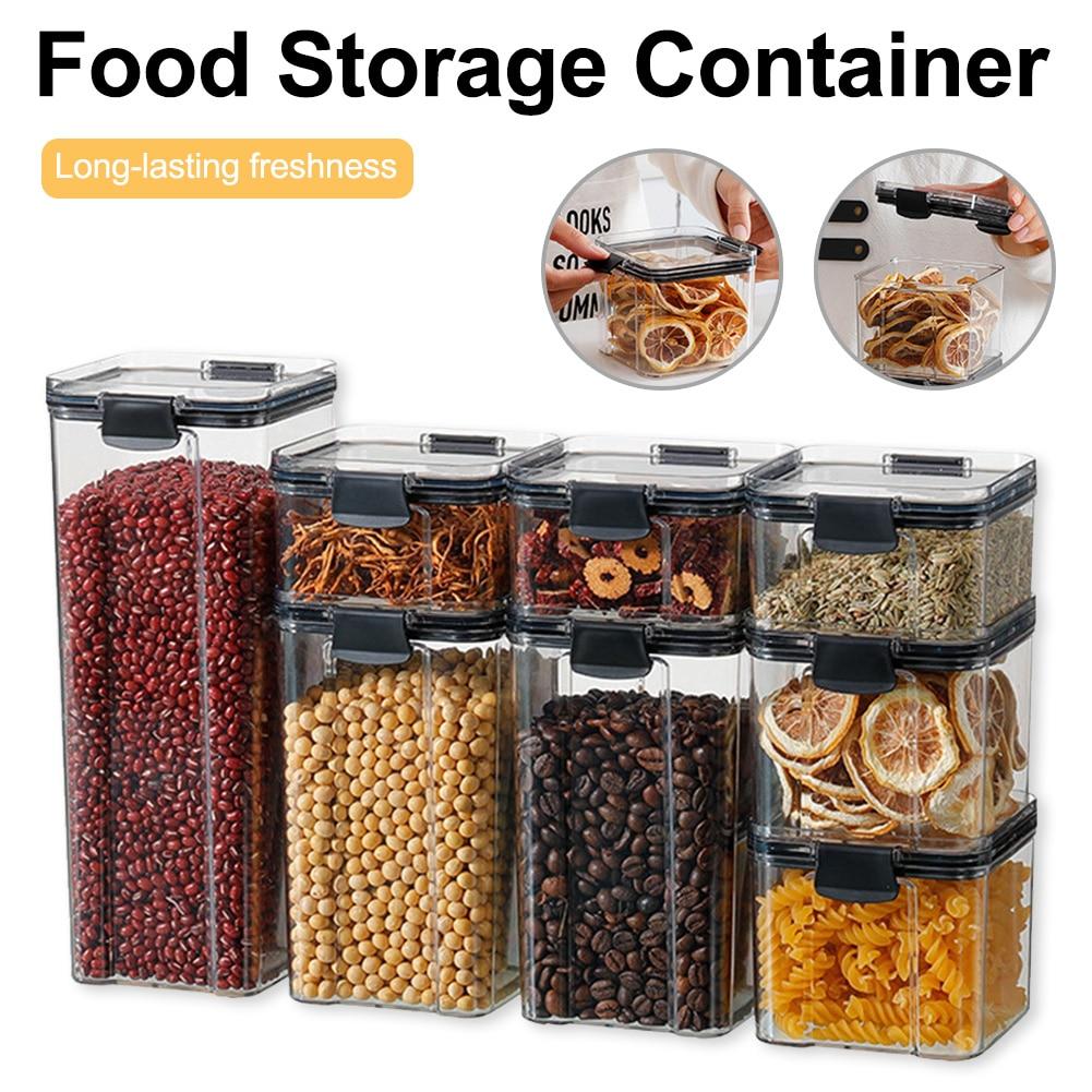 Штабелируемая кухонная герметичная банка, пластиковая коробка для хранения продуктов, многозернистый контейнер для хранения, банка для су...
