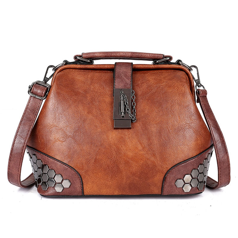 Fashion Women Handbags New Women Lock Chain Rivets Vintage Pu Leather Crossbody Shoulder Bag Ladies Doctor Bags Female Totes