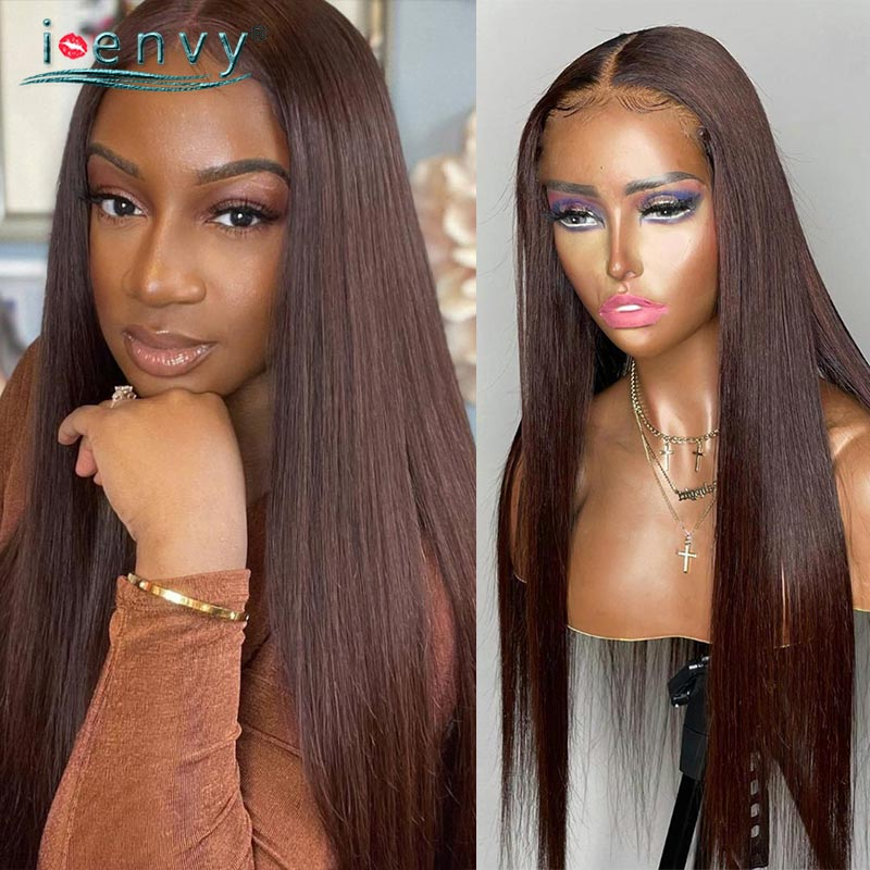 Transparent Lace Wig Straight Brown Human Hair Human Hair Wigs Chocolate Color Blonde Brazilian Human Hair Wigs Black Women Remy