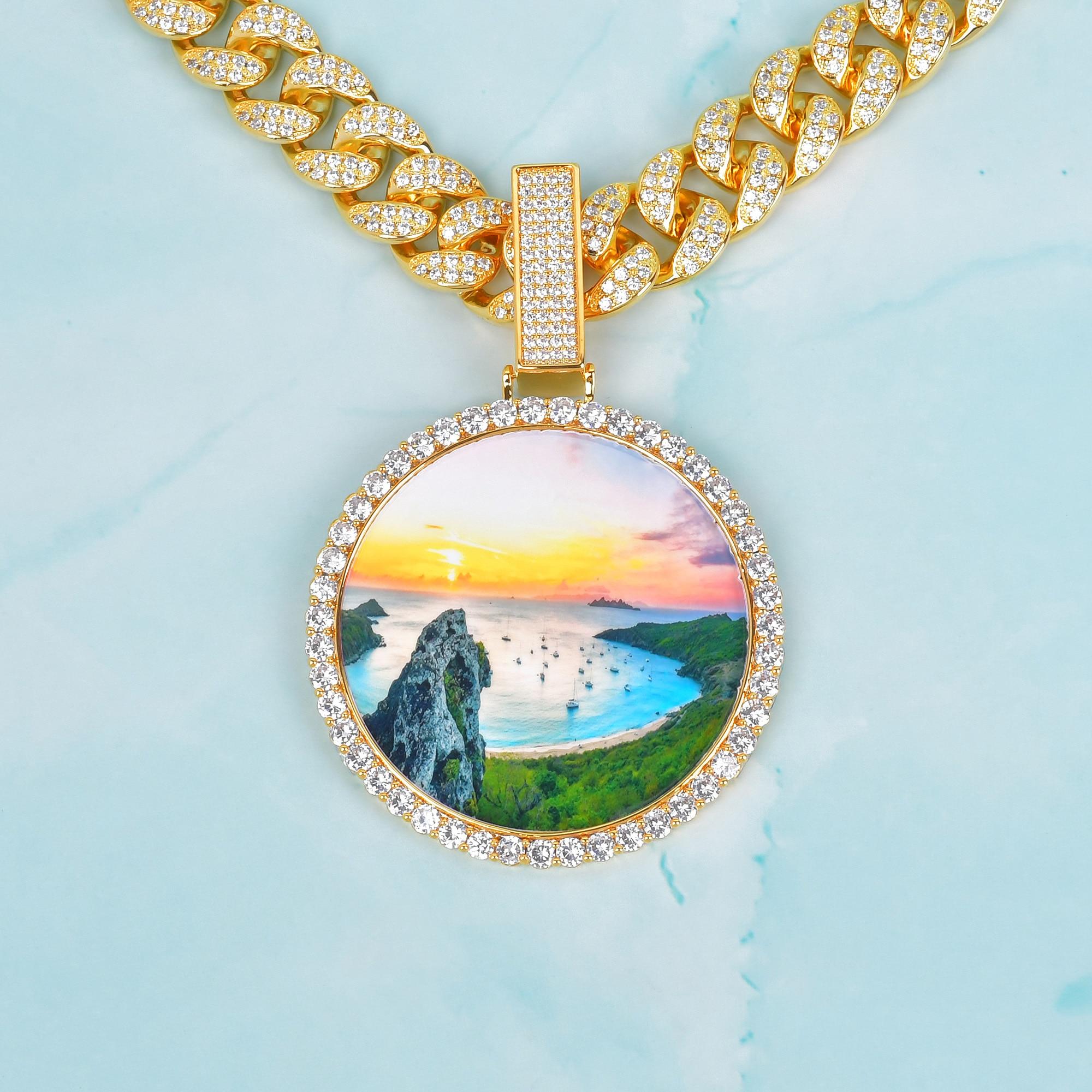 Oversize Custom Photo Pendant Gold Color Cubic Zircon Men's Hip Hop Jewelry