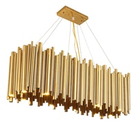 Modern Luxury LED Chandelier Lighting Gold Stainless Steel Lamp Rectangle Dining Room Kitchen Hang LED Light Fixtures