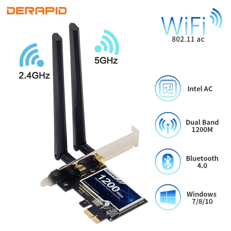 1200Mbps inalámbrico PCI-E adaptador 802.11ac Bluetooth 4,0 tarjeta Wifi Wlan 2,4G/5GHz escritorio...
