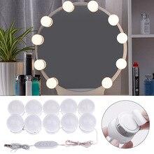 W stylu Hollywood do makijażu 5V lampa toaletowa USB Stick na ścianie wystrój łazienki Salon kosmetyczny lampa LED nad lustro toaletka