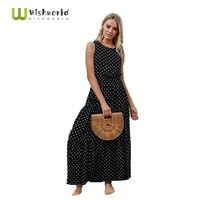 the new 2021 summer fashion wave point round collar dress sexy female dress buttons printed fashion elegant lady dress