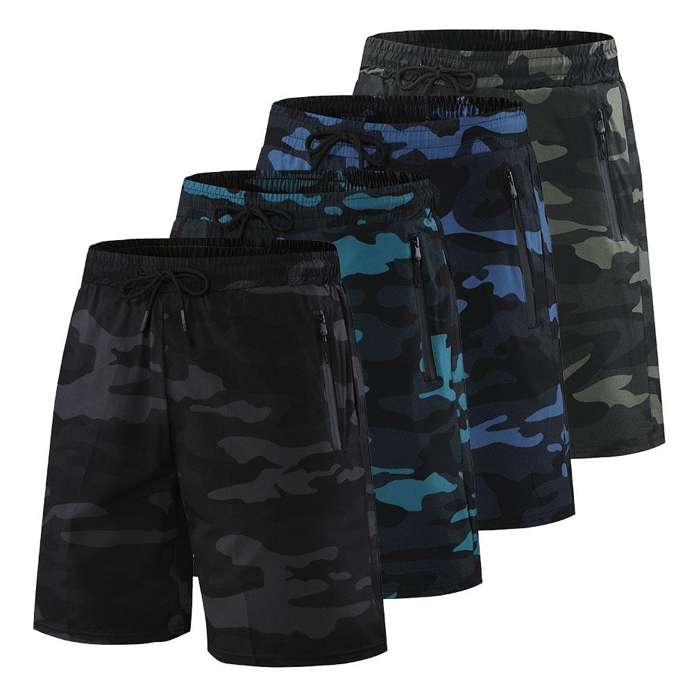 Шорты мужские для фитнеса и бега, спортивные штаны для фитнеса, камуфляжные спортивные летние с карманами на молнии