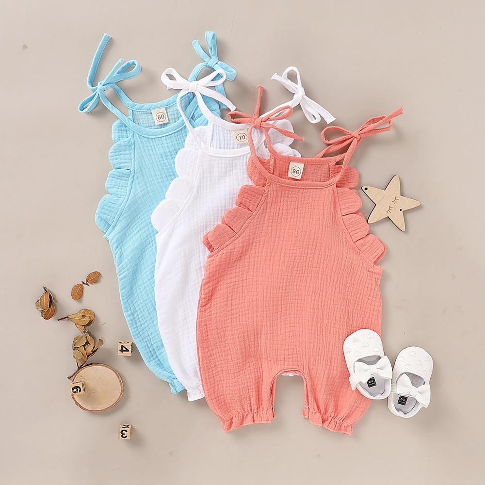 Baby Girls Sleeveless Jumpsuit Summer Casual Soild Color Ruffle Square Collar Bodysuit Roomper D30