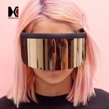 SHAUNA Very Very Big Integrated Lens Women Half Frame Sunglasses Oversize Men Goggle Glasses UV400