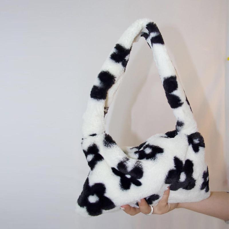 Fashion Women Winter Plush Flower Pattern Shoulder Bag Elegant Female Underarm Faux Fur Handbag Sweet Girls Furry FluffyTote