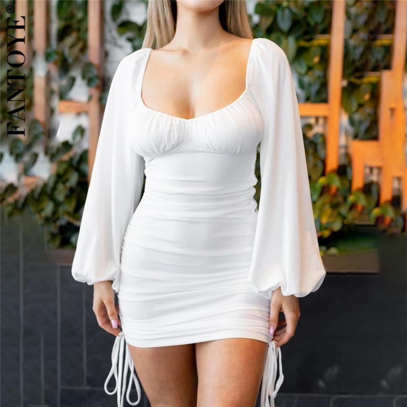 Fantoye ruched drawstring lanterna manga feminina vestido outono gola quadrada sem costas magro mini vestido sólido sexy partywear vestidos