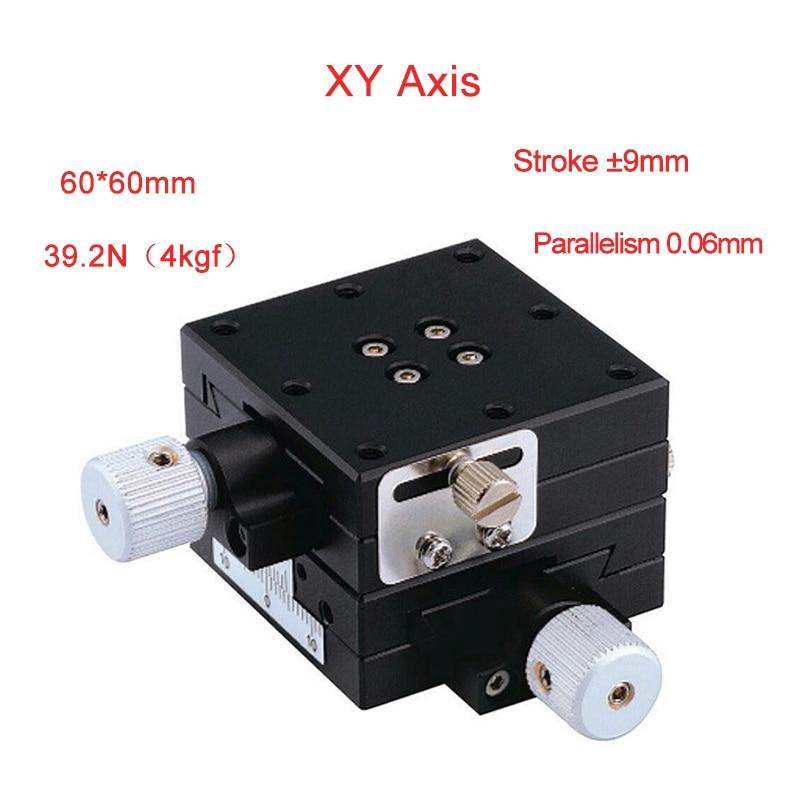 XY Axis 60*60mm carril transversal Manual plataforma lineal Mesa deslizante PLWFY6060-L/R