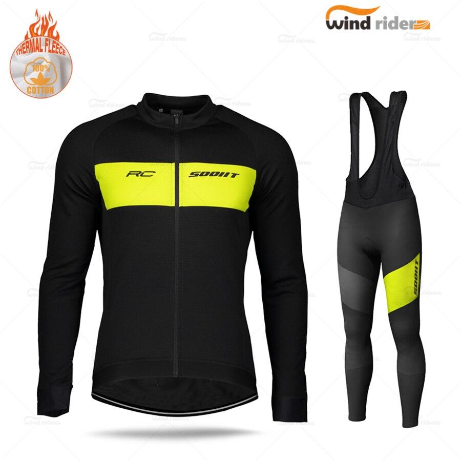 Manga longa conjunto de camisa ciclismo inverno scottful pro equipe rc bicicleta estrada uniforme velo térmico mtb bib calças terno