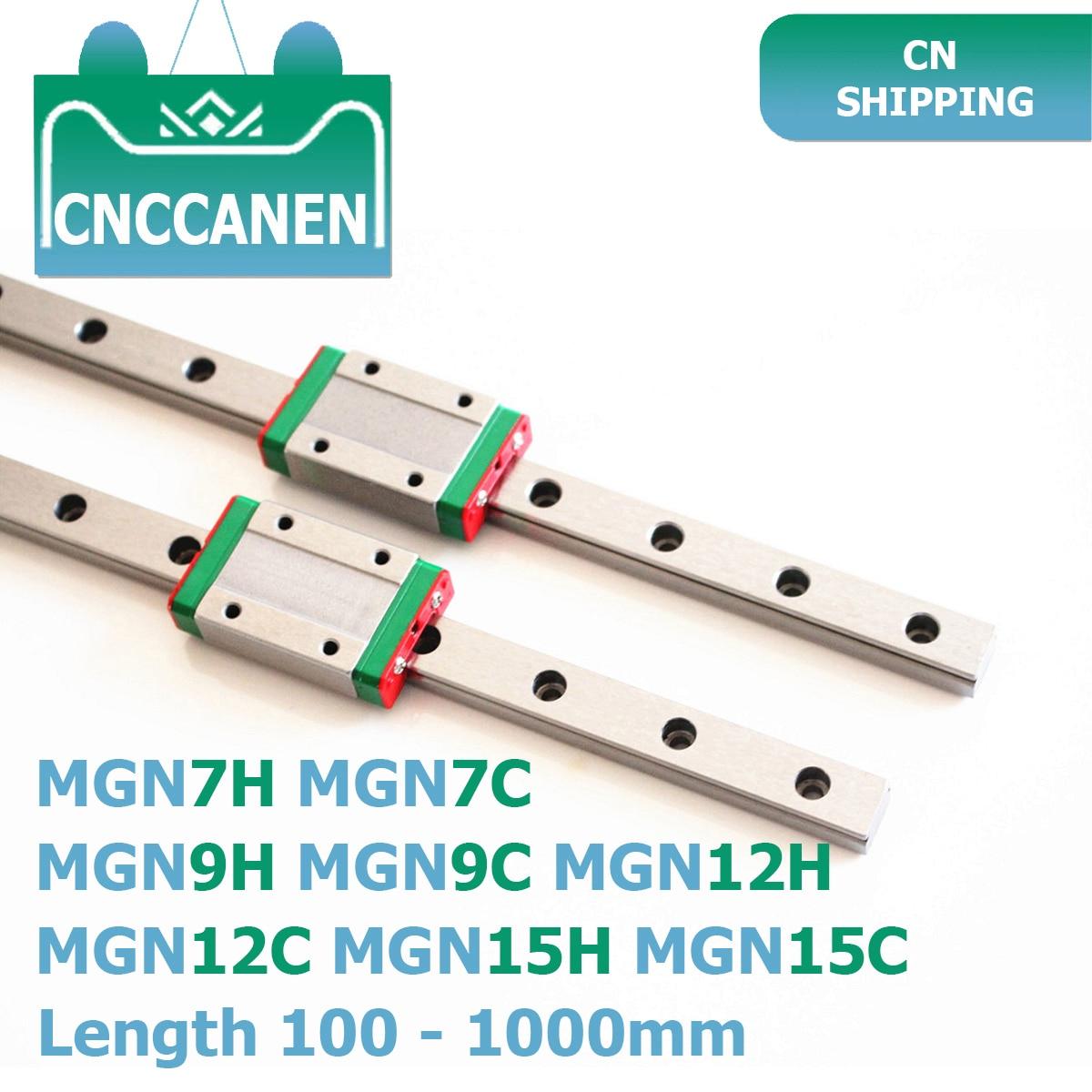 MGN7 MGN9 MGN12 MGN15 100-1000mm לינארי רכבת שקופיות 2PCS MGN9 ליניארי מדריך + 2PCS MGN9H או MGN9C תובלה 3D מדפסת CNC