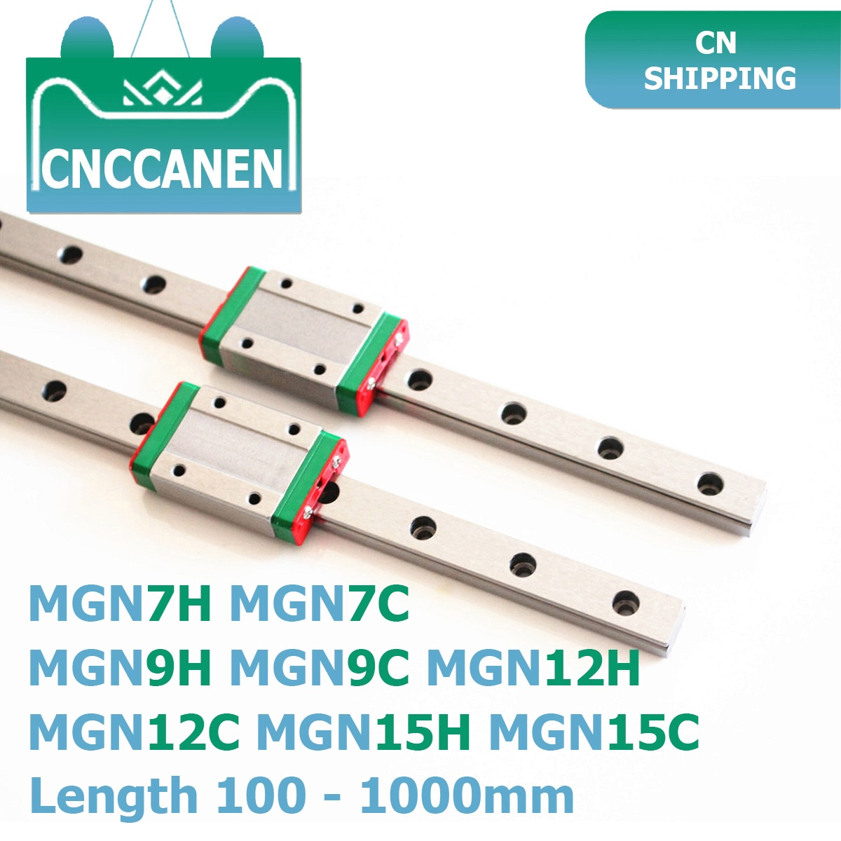 MGN7 MGN9 MGN12 MGN15 100-1000mm miniatura de carril lineal diapositiva 2 uds MGN9 guía lineal + 2 uds MGN9H o MGN9C transporte 3D impresora CNC