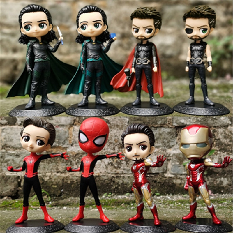 Q posket 15cm Marvel Avengers Endgame Thanos Spider Hulk Iron Man Captain America Thor Wolverine Venom Action Figure Toys Doll