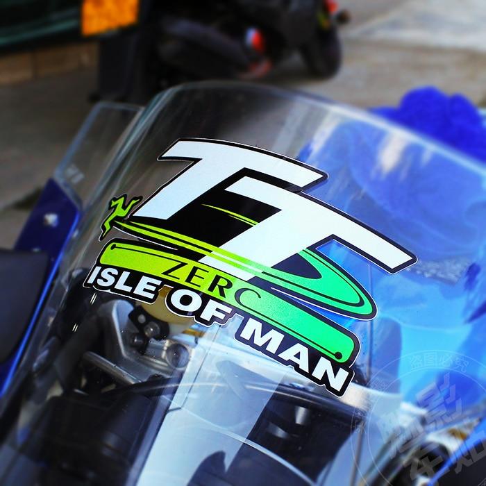 1 uds, pegatinas para casco de motocicleta, cinta reflectante para carreras de motos, cinta de estilismo para TT Isle of Man 14*7,5 cm