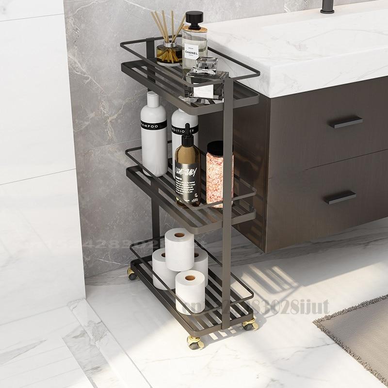 الشمال رفوف الحمام للحمام بسيط الحديد الذهبي تخزين أرضية الحمام الرف ل عربة المطبخ الحديد المطاوع مع عجلات