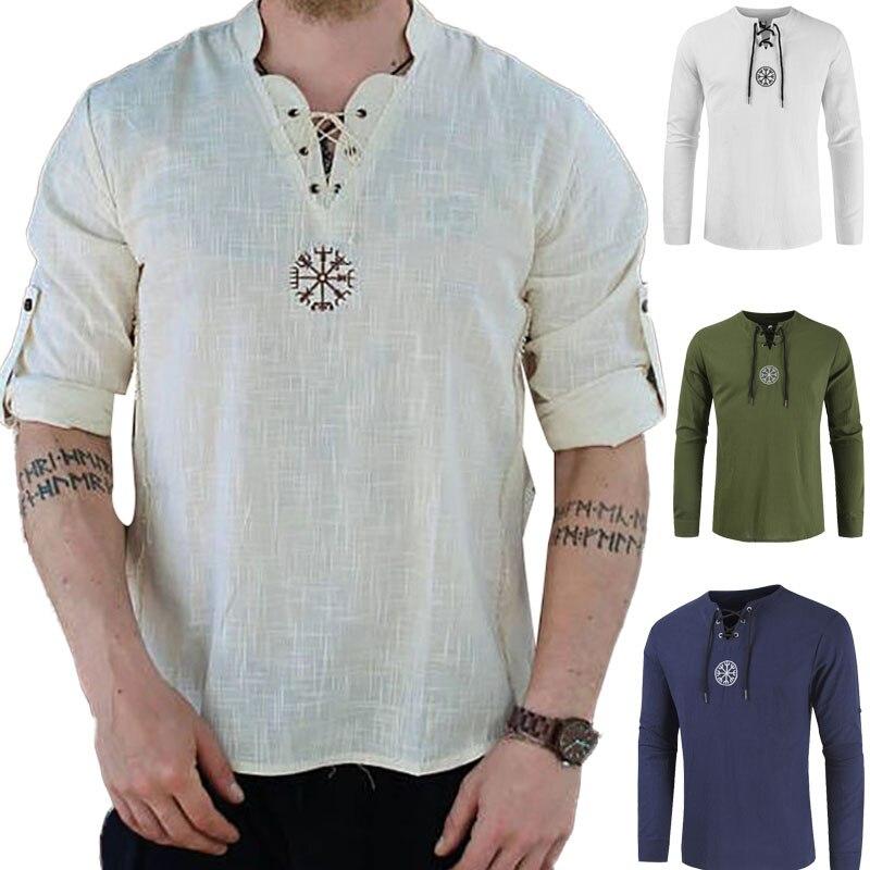 Medieval viking pirata linho camisa superior traje renascentista dos homens nordic retro camiseta barba cosplay t rendas-up para adulto camisa